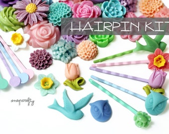 DIY HAIRPIN KIT: supplies to make 25 pastel resin cabochon embellished hair pins / diy project for kids, parties, girls nights, sleepovers