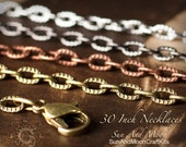 24 ~ (NEW) Textured Etched Chain Oval Link Necklaces ~ 30 Inch Lengths ~ Mix and Match ~