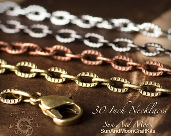 10 ~ (NEW) Textured Etched Chain Oval Link Necklaces ~ 30 Inch Lengths ~ Mix and Match ~