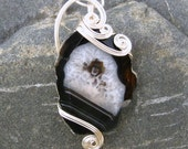 Wire Wrapped Pendant - Black Stripes Druzy Agate Necklace in Silver