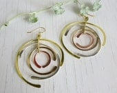 Forged Hoop Earrings, Silver, Gold, Copper, Brass, hand hammered and handmade entirely in my Austin Texas Studio