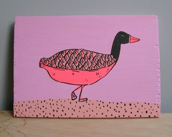 Goose, painting on wood.