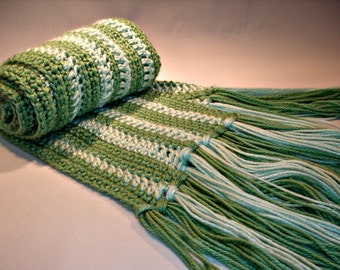 Hand Crocheted Unisex Scarf in Shades of Green