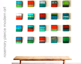 Original Wall Sculpture | Custom Wood Blocks Wall Art | Contemporary 3D Wall Art | Corporate Art | Rosemary Pierce Modern Art