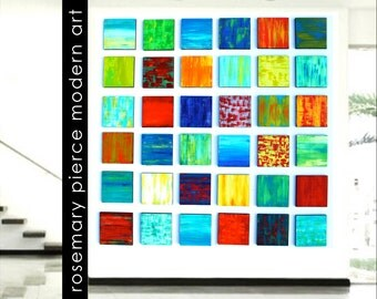 Colorful Painted Wood Wall Sculpture Art Installation by Rosemary Pierce custom abstract painted wood wall sculpture SKU#CB33006