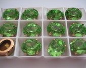 Lot of 4 12x10mm Peridot Article 4130/2 Oval Swarovski Sew on Rhinestones in Red Brass Sew on Settings