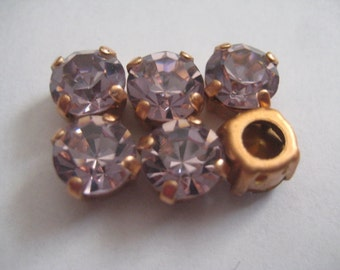 Lot of 6 8mm Light Amethyst Swarovski Chaton cut rhinestones in brass Sew On settings