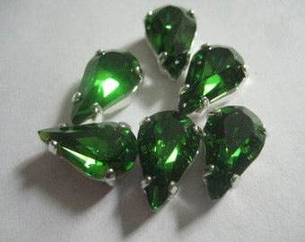Lot of 6 13x7.8mm Fern Green Swarovski Pear Cut  Rhinestones in Silver Plated Sew on Settings