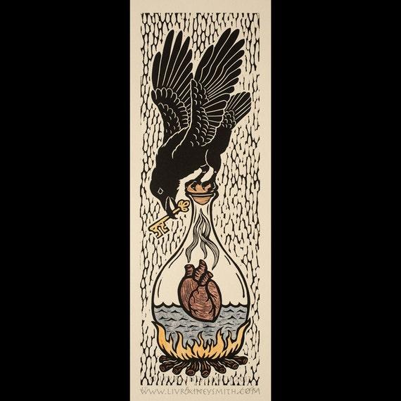 Alchemical Raven original woodcut print AP with 23k gold, piemontite, garnet, sodalite, yellow ochre, and iron oxide
