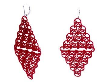 Red 3D Printed U Link II Earrings