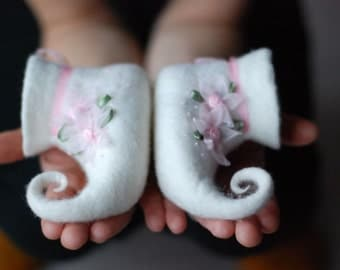 For Little Fairy hand felted  slippers home shoes baby booties white HANDMADE TO ORDER