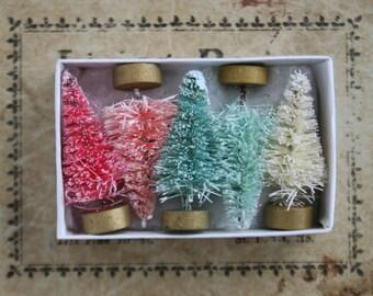 Mini Pastel Bottle Brush Tree Decorations - Pastel Pink and Aqua Miniature 1 1/2 Inch Trees - Tiny Holiday Bottle Brush Tree Gift Box