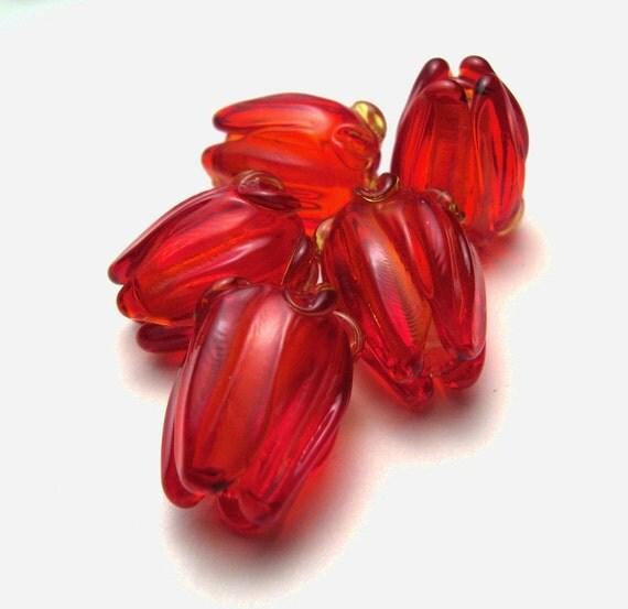 RED ROSES, Lampwork Beads, sra lampwork, lamp glass beads