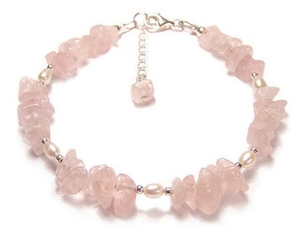 Rose Quartz and Pearl gemstone Sterling silver bracelet - pink gemstone chips, creamy pearls, heart stone