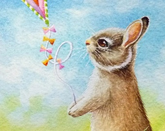 Bunny Rabbit Flying Kite Miniature Art - Limited Edition ACEO Giclee Print reproduced from the Original Watercolor