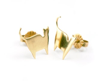 Gold Cat Earrings