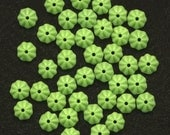 Vintage Flower Beads 6mm Lime Green Rondelle Spacers 100 Pcs.