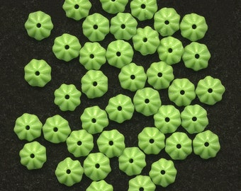 Vintage Flower Beads 6mm Lime Green Rondelle Spacers 48 Pcs.