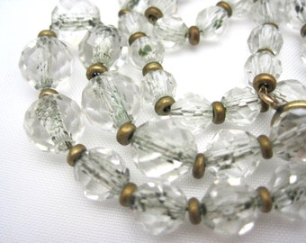 Vintage Clear Glass Beaded Necklace - Art Deco