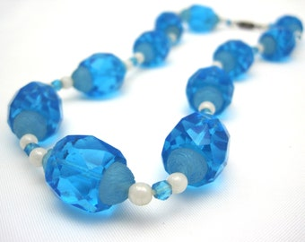 Blue Beaded Necklace - Azure Blue Czech Glass Bead Necklace - Frosted