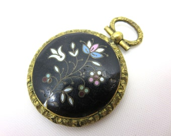 Antique Victorian Mourning Pendant - Enamel and Hairwork