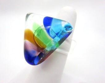 Colorful Glass Triangle Ring - Lampwork