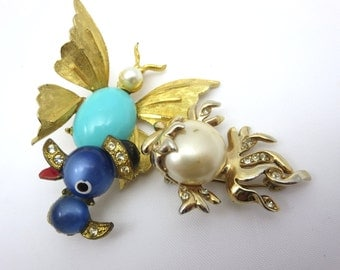 Vintage Jelly Belly Brooches - 1950s Costume Jewelry