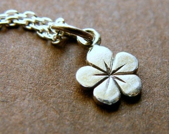 Dainty Silver Hibiscus Flower Charm Necklace