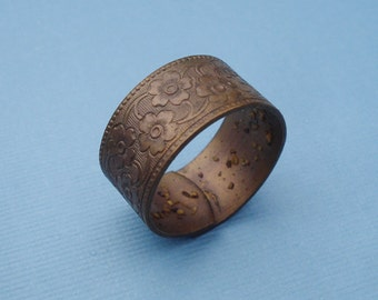 Vintage Adjustable Brass 9.5mm Floral Ring Band (1 piece)
