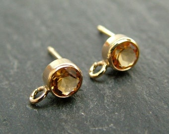 Gold Filled Citrine Ear Post ~ PAIR (CG6597)