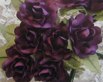 Paper Flowers 12 Open Millinery Roses In Royal Purple