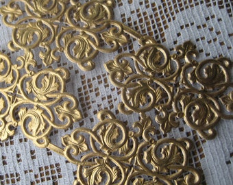 6 Fancy Antique Gold Dresden Fancy Paper Lace Embellishments Germany