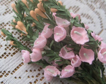 Vintage Millinery Flowers Fabric And Paper Campanulas Cluster Peach Flowers  VF 059 PCH