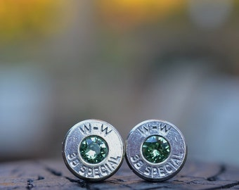 Bullet Earrings stud or post, nickel silver W-W Winchester .38 special with Swarovski crystals