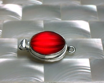Oval Box Clasp Frosted Red Swarovski Crystal Sterling Silver Single strand Jewelry Ending Closure Jewelry Supplies, Jewellery Supplies