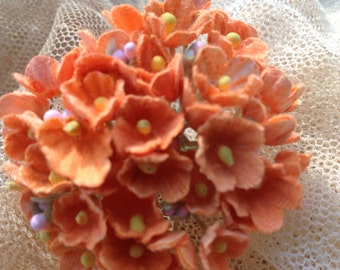 AUTUMN SALE 12 Bouquets Vintage  Flocked Millinery Flowers Forget Me Nots -  Tangerine - Hat Flowers - Doll  - Thanksgiving  Flowers