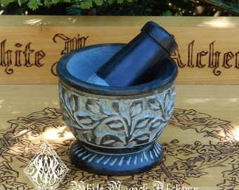 Witches Garden Black Floral Carved Mortar and Pestle Set