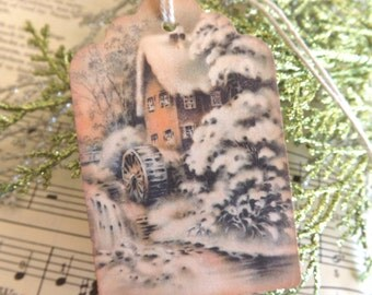 Old Snowy Gristmill Vintage Holiday Gift Tags // Set of 6