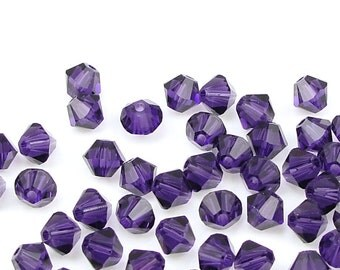 48 VELVET PURPLE 4mm Xilion Bicones 5301 5328 Swarovski Crystal Beads - Dark Purple Beads