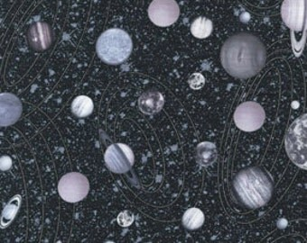 Solar System Space Cosmos Black Metallic Benartex Fabric 1 yard