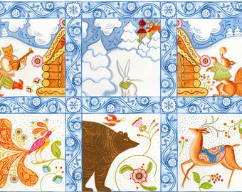 Julie Paschkis Kalinka Animal Folk Fabric Panel