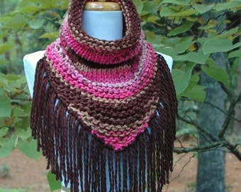Chunky Knit Triangle Scarf Cowl with Fringe in Pink Brown Taupe Raspberry, Chunky Scarf, Women's Scarf, Winter Scarf Cowl, Knit Scarf, Vegan