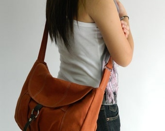 Sale Sale Sale 30% - Claire in Orange Pumpkin Messenger bag/ Diaper bag / Tote / Purse /Handbag /Cross body / Women / back to School