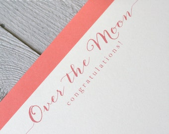 Congratulations Note Cards, Set of 5, Congratulations Card, Over the Moon, Stationery Set, Flat Note Cards, Coral
