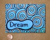 Dream in Turquoise Blue and Gold ACEO Original Watercolor Painting