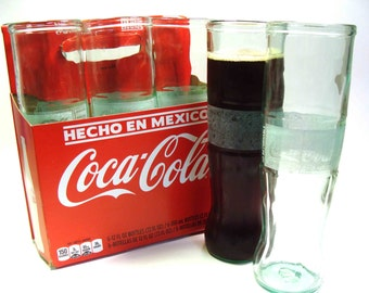 Six Pack Set of Recycled Mexican Coke Soda Bottle Drinking Glass Cups / Green Glass