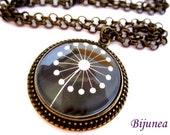 Dandelion necklace -  Black dandelion necklace - Spring dandelion necklace - Wish dandelion necklace - White dandelion necklace n637