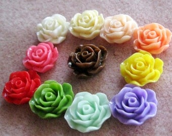 SALE Drilled Acrylic Lucite Resin Ruffled Rose Flower Beads You Choose Colors 19mm 923