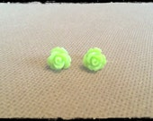 Chartreuse Rose Cabochon Stud Earrings