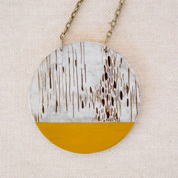 Hand painted geometric pendant - yellow pendant -art -minimalist